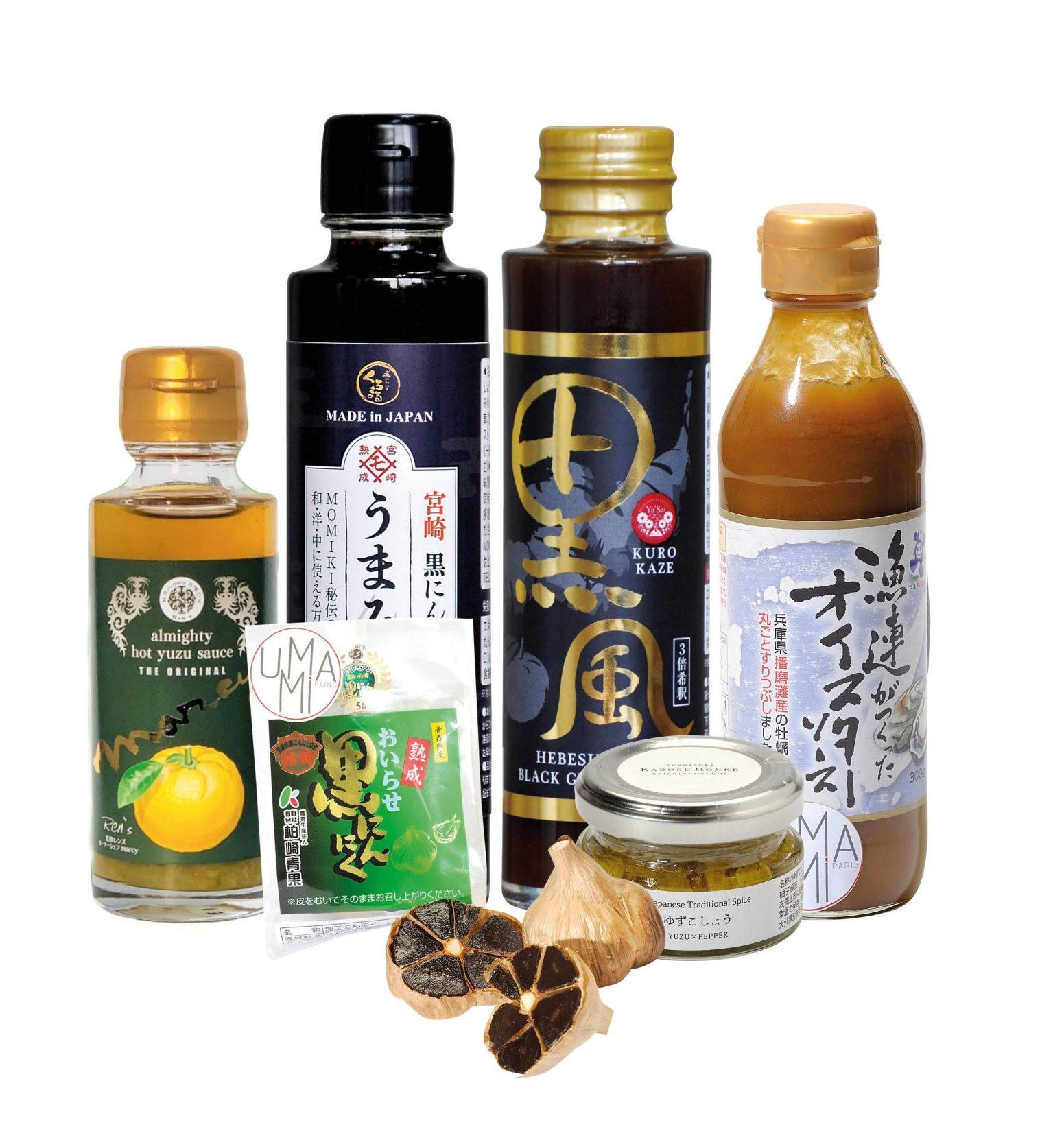 les produits aphrodisiaques chez umami : sauce à l'huitre, ail noir, yuzu kosho et sirop de gingembre maturé