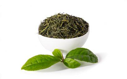 feuilles de thé vert dans un bol blanc et feuilles de thé vert fraîches