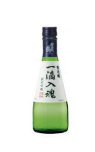bouteille de saké ittekinyukon sur fond blanc