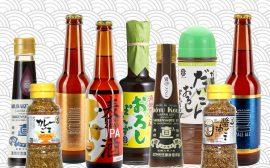 9 produits japonais sur un fond à vague motif japonais