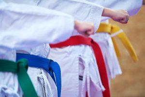 enfant en kimono de karate avec ceinture de couleur