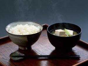 bol de riz et soupe miso