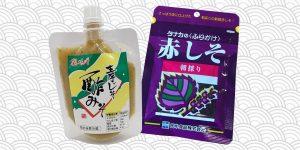 poche de miso et sachet de furikake sur fond blanc