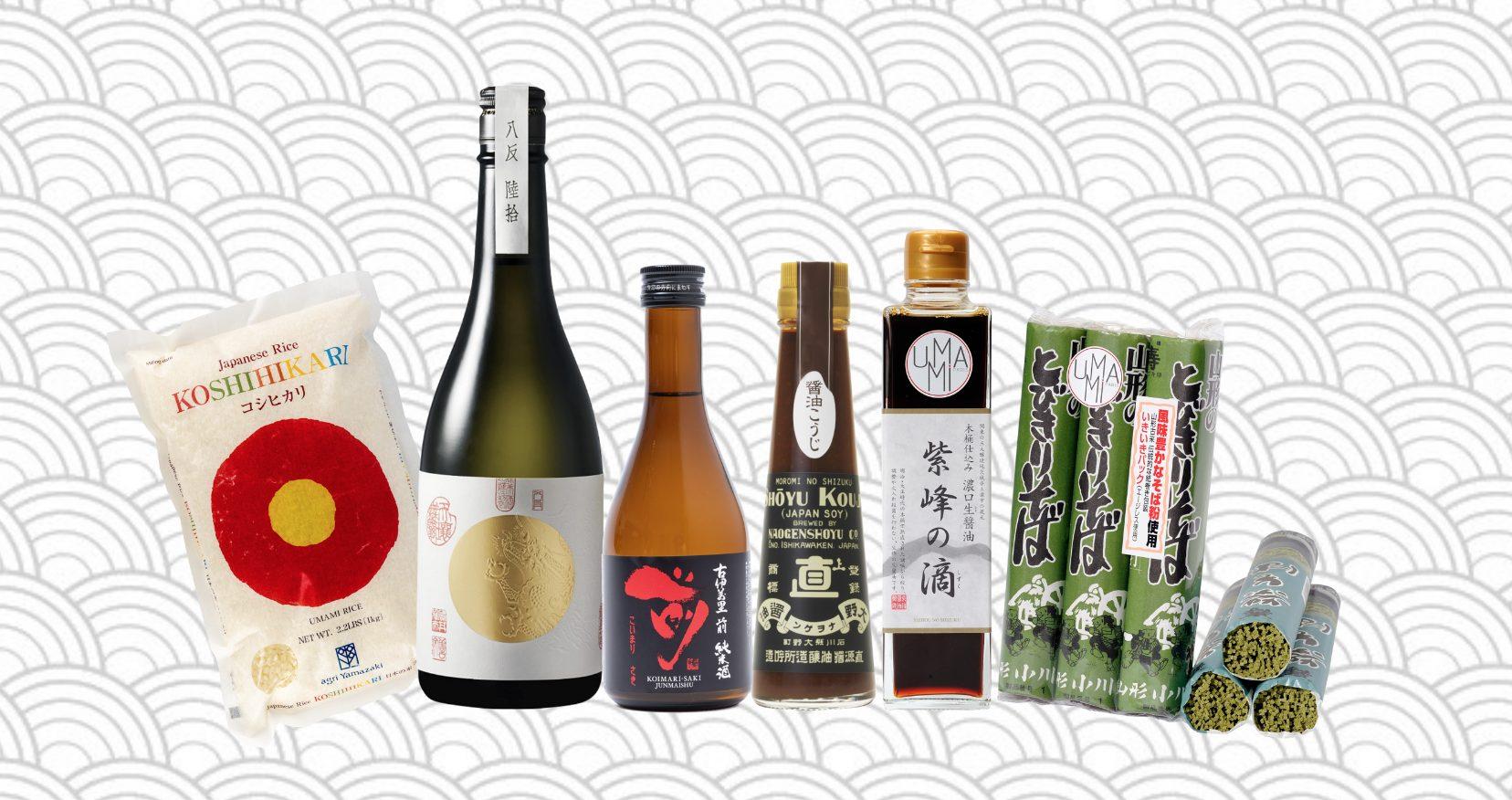 produits umami sur fond japonisant